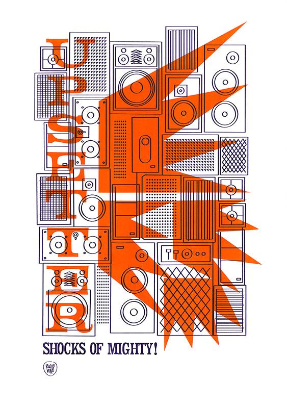 "2-tone Risoprint A3 // ""Shocks Of Mighty"""