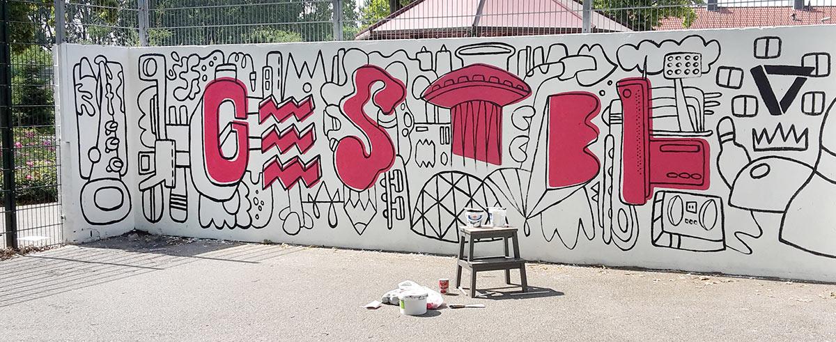 Muurschildering voetbalkooi Gestel Eindhoven